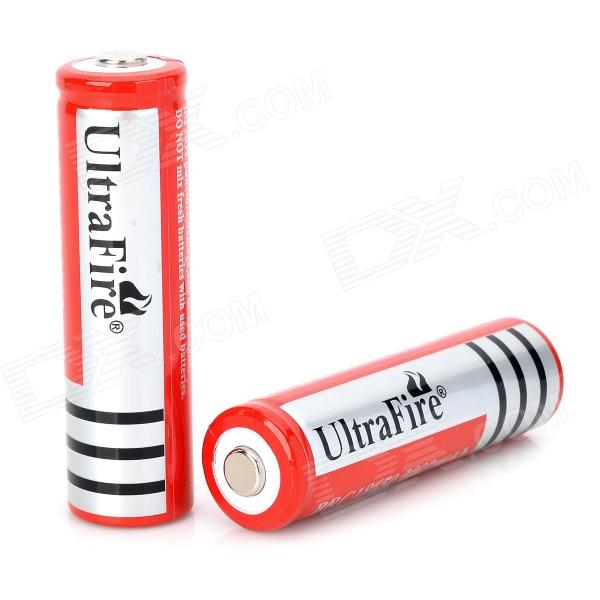 Ultrafire 18650 3.7V 1200mAh Rechargeable Li-ion Batteries for Flashlight - Red + Silver (2 PCS) 100% new original ncr18650b 3 7 v 3400 mah 18650 lithium li ion rechargeable battery for panasonic flashlight batteries
