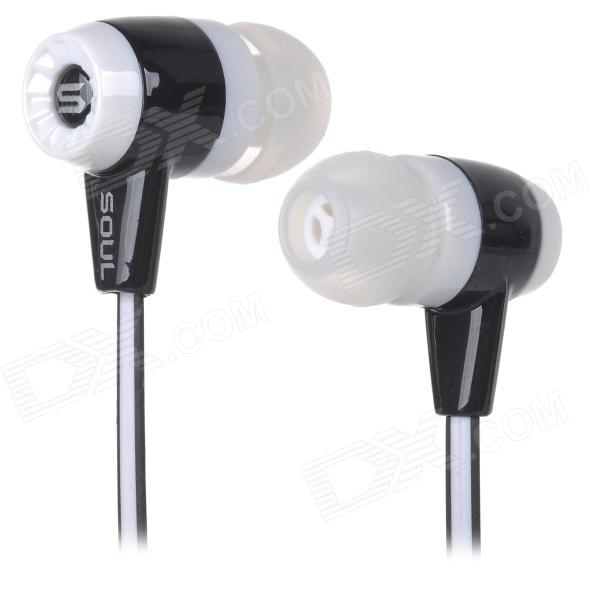 Soul High Quality Stereo In-ear Earphone for IPHONE / IPAD / IPOD - Black + White (116cm) fashion stereo in ear 3 5mm earphone black white multi colored 120cm