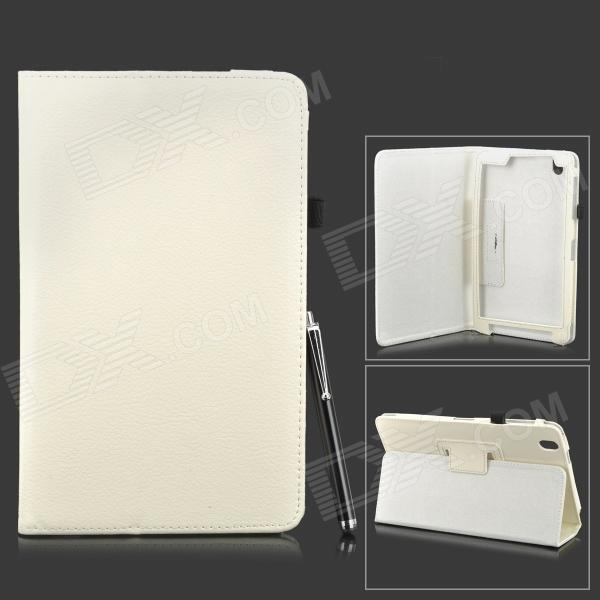 Protective PU Leather Flip-open Stand Case w/ Stylus for Samsung Galaxy Tab Pro 8.4 T320 - White protective pu leather flip open stand case w stylus for samsung galaxy tab pro 8 4 t320 white