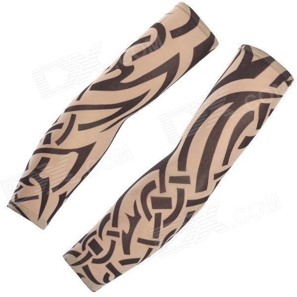 JUQI W30 Anti-UV Tattoo Pattern Seamless Sleeve for Cycling - Black + Skin Color (2 PCS)