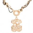 SHIYING a03316 Hollow-out Bear Style Necklace for Women - Black + Golden