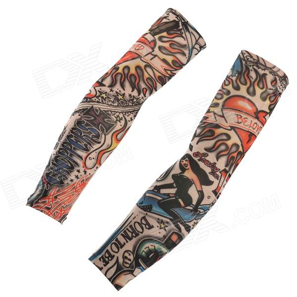 JUQI W09 Anti-UV Tattoo Pattern Seamless Sleeve for Cycling - Black + Red + Multi-Colored (2 PCS) tattoo arm leg sleeves sun protection cycling halloween party