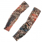 JUQI W09 Anti-UV Tattoo Pattern Seamless Sleeve for Cycling - Black + Red + Multi-Colored (2 PCS)