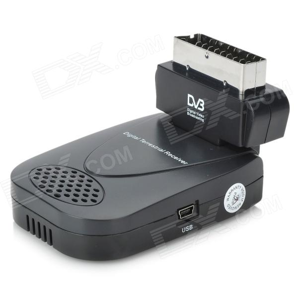 DVB-T Digital TV SCART Dongle Terrestrial Freeview Receiver with IR Remote (2*AAA)