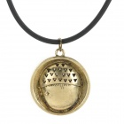 Acorn Shaped Silicone Chain Zinc Alloy Pendant Necklace - Black + Copper + Multi-Colored