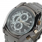 Zhongyi W817 Fashion Alloy Shell Analog Quartz Wrist Watch for Men - Gun Black + Black + Multi-Color