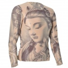 JUQI CS23 Cool Patterned Simulation Tattoo T-shirt - Black + Flesh