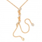 SHIYING a02207 Snake Style Zinc alliage strass collier pendentif pour femme - or + Transparent