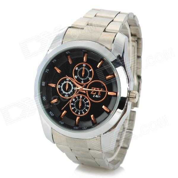 Zhongyi W801 Fashion Alloy Shell Analog Quartz Wrist Watch for Men - Black + Rose Gold