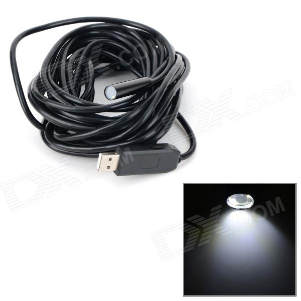 Waterproof USB 2.0 industrial 10 milímetros 4-LED endoscópio - preto (cabo-7m)