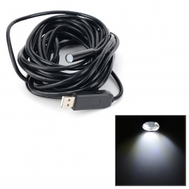 Waterproof USB 2.0 Industrial 10mm 4-LED Endoscope - Black (Cable-7m)