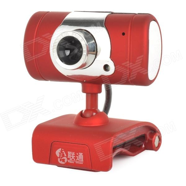 happyunicom USB 2.0 Wired 12MP Webcam w/ Microphone - Red + Silver