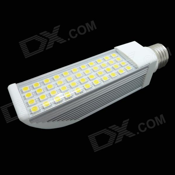E27 8W 350lm 44-SMD 5050 LED White Light Lamp - White + Silver (AC 85~265V) r7s 15w 5050 smd led white light spotlight project lamp ac 85 265v