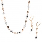 HH009 Fashion Jewelry Small Dot And Heart-shaped Style Crystal Zinc Alloy Necklace + Earrings Set