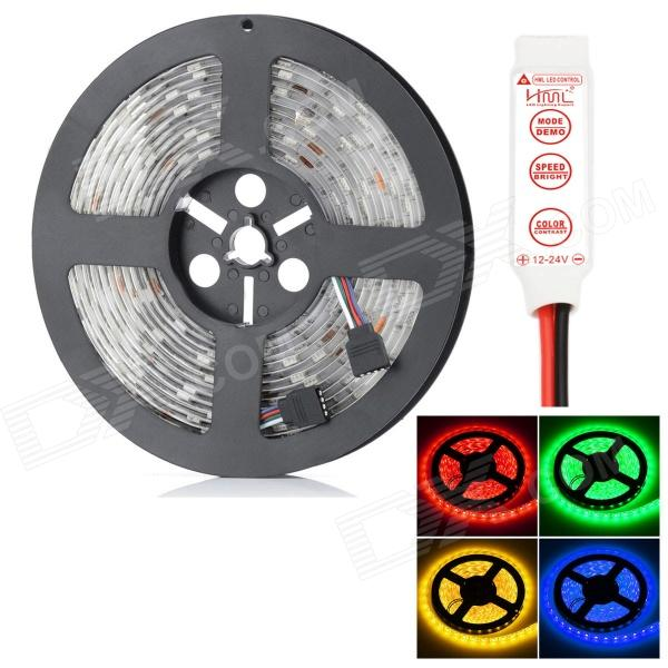 HML Waterproof 72W 6300lm 300-SMD 5050 LED RGB Light Strip w/ Mini 3-Key RGB Controller (12V / 5m) цена