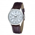 HMD6075 Men's Casual Analog Quartz Wrist Watch - White + Brown