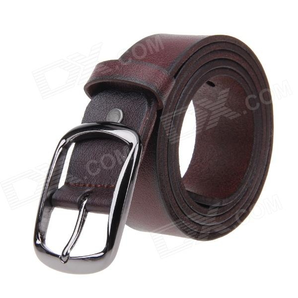 Fashion Men's Cow Split Leather Zinc Alloy Pin Buckle Belt - Rufous pouchkan stylish cow leather men s belt with zinc alloy buckle black