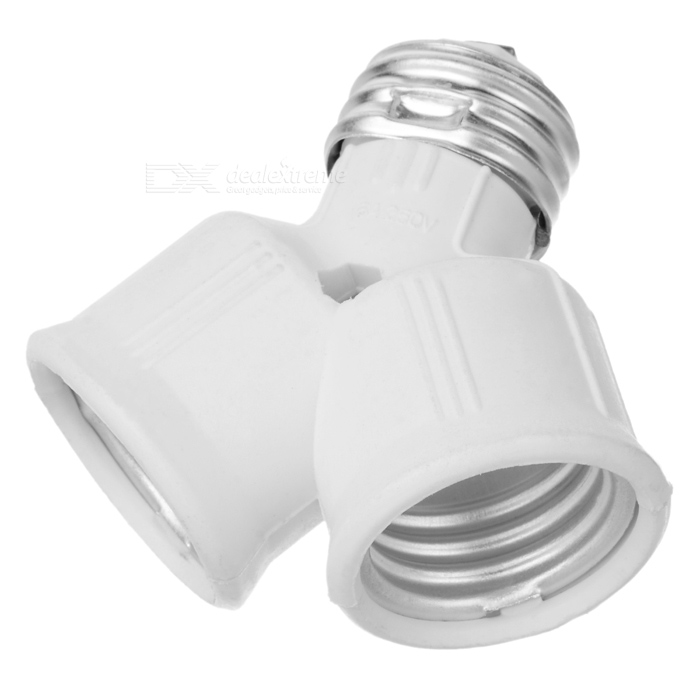 Extension Socket E27 1-to-2 Light Lamp Bulb Adapter Converter - White + Silver