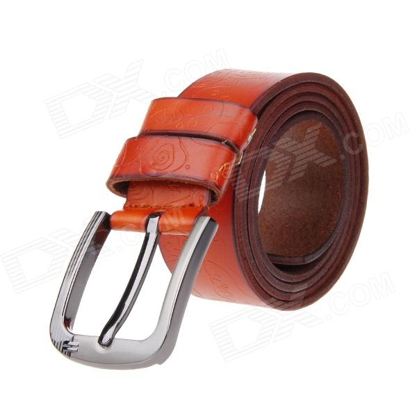 Flowers Printing Split Leather Zinc Alloy Pin Buckle Belt - Orange pouchkan stylish cow leather men s belt with zinc alloy buckle black