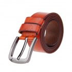 Flowers Printing Split Leather Zinc Alloy Pin Buckle Belt - Orange