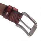 Printing Split Leather Zinc Alloy Pin Buckle Belt - Brownish Red