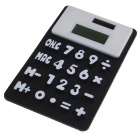 "Outdoor Portable Water Resistant Folding 1.5"" Screen Solar Silicone Calculator - White + Black"