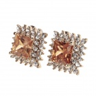 Fashion Insert Gem Diamond Edge Earrings - Silver + Golden