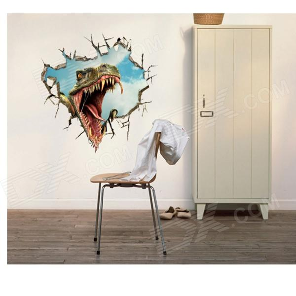 3D Dinosaur Art Wall Decal / Removable PVC Wall Sticker - White + Army Green