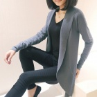Cotton Blended Long Women's Cardigan Sweater - Gray (Free Size)