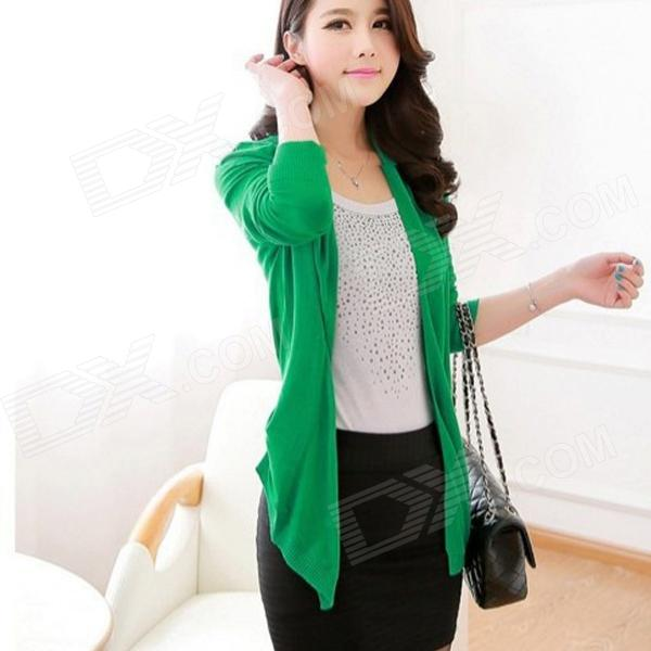 Cotton Blended Irregular Knit Cardigan -Green (Free Size)