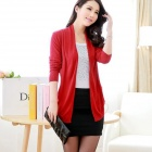New Irregular Cotton Blended Knit Cardigan - Red (Free Size)