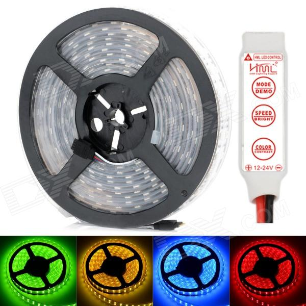 HML IP67 Waterproof Dual-Row 144W 600-SMD 5050 RGB Light Strip w/ Mini RGB Controller (12V / 5m) hml ip67 waterproof dual row 144w 600 smd 5050 rgb light strip w mini rgb controller 12v 5m