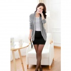 New Irregular Cotton Blended Knit Cardigan - Gray (Free Size)