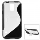 ''S'' Shaped Protective TPU + PC Back Case w/ Stand for Samsung Galaxy S5 - Transparent + Black