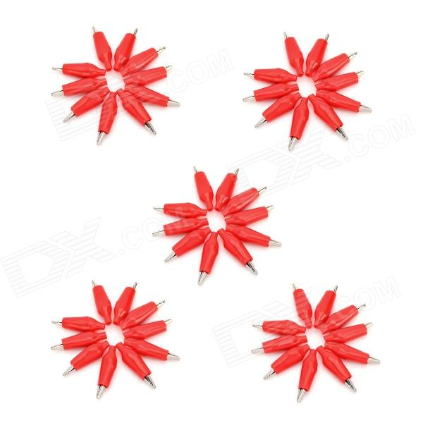 Plastic + Iron Power Test Alligator Clips / Clamps - Red + Silver (50 PCS / S)