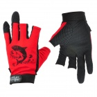 Summer Outdoor Fishing UV Protection Anti-skid Three Half Finger Gloves for Men - Red + Black (Pair)
