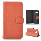 Stylish Flip-open Split Leather Case w/ Holder + Card Slot for Motorola MOTO G / DVX - Brown