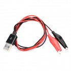 USB Alligator Power Test Cable - Black + Red (84cm)