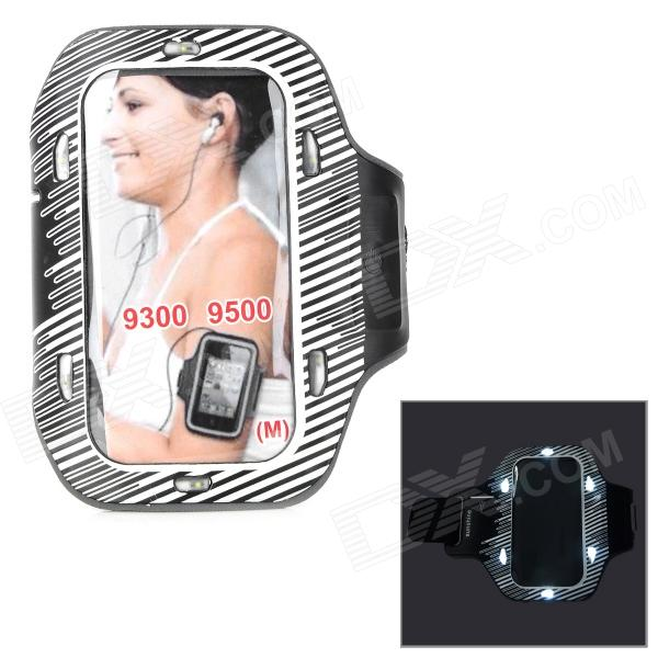 Sunshine PVC + Nylon Armband w/ 3-Mode 6-LED / Switch for Samsung i9300 / i9500 - White + Black