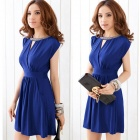 Fashion Micro Fiber V-Neck Sleeveless Waist Dress for Women - Blue (Free Size)