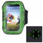 Sunshine PVC + Nylon Armband w/ 3-Mode 6-LED / Switch for Samsung i9300 / i9500 - Green + Black