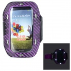 Sunshine PVC + Nylon Armband w/ 3-Mode 6-LED / Switch for Samsung i9300 / i9500 - Purple + Black
