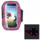 Sunshine PVC + Nylon Armband w/ 3-Mode 6-LED / Switch for Samsung i9300 / i9500 - Deep Pink + Black