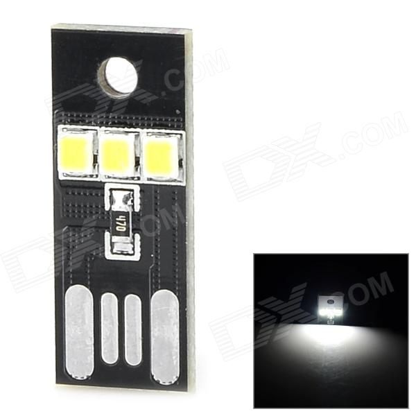 0.2W 3-SMD 2835 LED White USB Powered Night Lamp - Black mini usb light 3 led white light small lamp night light mobile power usb light