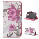 YIYI Floral Pattern Flip-open PU Case w/ Holder + Card Slot for Samsung Galaxy S5 - White + Purple