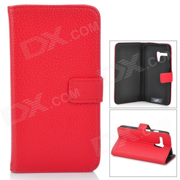 Stylish Flip-open Split Leather Case w/ Holder + Card Slot for Motorola MOTO G / DVX - Red