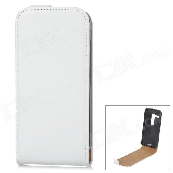 IKKI Classic Flip-open Split Leather Case for Motorola MOTO G / DVX - White