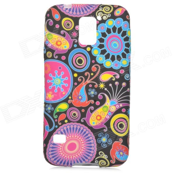 Stylish Cartoon Jellyfish Pattern Silicone Back Case for Samsung Galaxy S5 - Black + Blue
