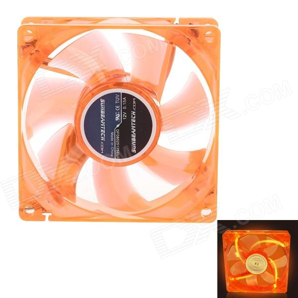 8025 Silent PC Case Cooling Fan w/ 4 UV LEDs - Orange