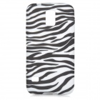 Stylish Zebra Pattern Silicone Back Case for Samsung Galaxy S5 - Black + White
